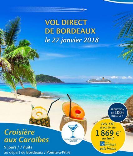 globe travel croisière départ bordeaux caraibes
